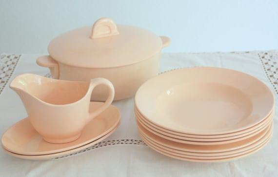 Lovely Vintage Fenal Freres France Pink Dinner Service, Table Ware