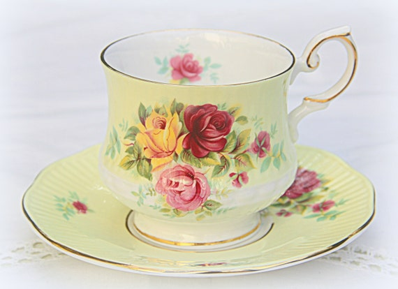 RESERVED FOR BYR Vintage Queens Rosina Bone China Cup and Saucer, Yellow and Rose Decor, England