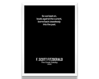 The Great Gatsby Closing Lines Poster, F. Scott Fitzgerald Poster, Great Gatsby Poster, Literature Poster, Minimalist Poster, Literary Art