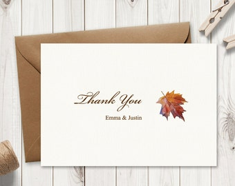 "Wedding Thank You Card Template ""Fall In Love"", Brown. DIY Printable Fall Inserts. Watercolor Thank You Note. MS Word. Instant Download."