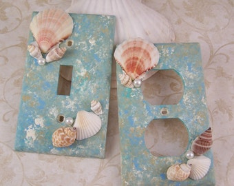 Seashell Single Light Switch Plate Covers Distress Painted Blue Green Marbled Shell Light Switchplate Covers Beach Ocean Home Decor