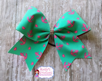 Anchor Hair Bows, Anchor Hair Bows,Anchor Bows, Cheer Hair Bows, Cheer Bows,Teal Anchor Cheer Bow, Teal Cheer Bows, Teal Cheer Hair Bows.