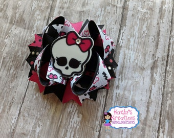 Monster High Bows,Skull Hair Bows,Pink and Black Monster High Bows,Skull Bows,Black and Pink Skull Bows,Skull Girl Birthday,Monster High.
