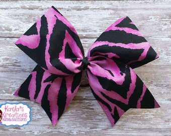 Zebra Print Cheer Bow,Cheer Bows,Pink Zebra Cheer Bows,Big Cheer Hair Bows,Black and Pink Zebra Print Cheer Hair Bows,Zebra Print Cheer Bows