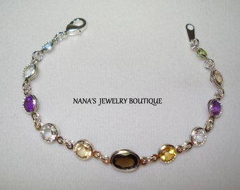 Multi-Gemstone Bracelet 6.5""