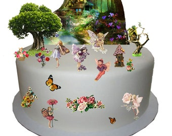 Stand Up Enchanted Forest Flower Fairy Scene made from Fully Edible Premium Wafer Paper - Cake Topper Decoration