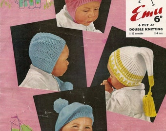 PDF Vintage Knitting Pattern Four Baby Hats Size 1 to 12 Months DK/4Ply PDF Instant Download