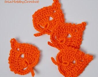 4 Crochet Leaves in bright orange cotton, Crochet Appliques, Crochet Leaves, Crochet Leaves Embellishments set of 4 - READY TO SHIP