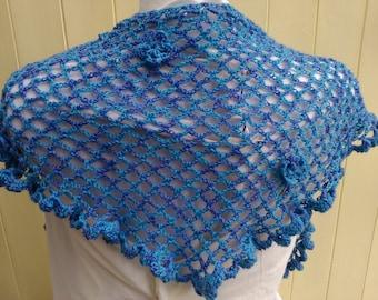 Unique handmade crochet shawl, wool blend, lace effect shawl, variegated blue/purple yarn, wrap, scarf, detachable flower pin
