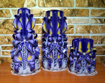 A set of candles set-carved candles purple candles-Gift-interior-carved candle-Beautiful candles