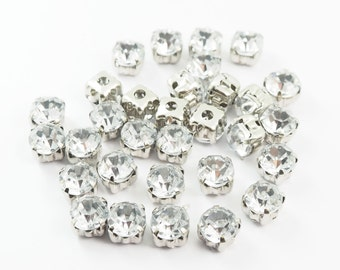Free Shipping - 20 pieces - 6 mm Clear Rhinestone Crystals Diamond Decoration Findings Beads - PTN.34