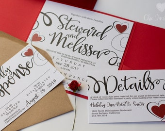 Red and white Wedding Invitation flower invitation red invitation Wedding Invitation