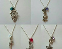 Once Upon a Time Ship Necklaces (Outlaw Queen, Captain Swan, Swan Queen, Rumbelle, Snowing) with a swarovski heart of your *choice