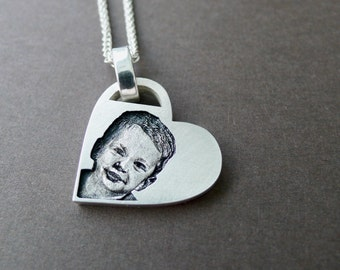 Keepsake Necklace Custom Photo Necklace Sterling Silver Photo Jewelry Picture Necklace Engraved Photo Portrait Necklace Memorial