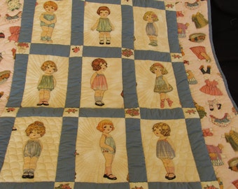 Paper Doll Baby Quilt--Hand Quilted