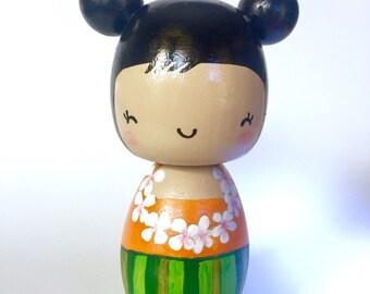 Hula girl kokeshi doll