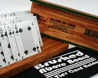 Brushed Above Board Oak 4-Tier Playing Card Holder Inside a Flannel Pouch - Includes Two Holders