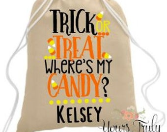 Trick or treat tote, candy bag, where's my candy, personalized tote, Halloween bag, Halloween treat bag, candy sack, Custom trick or treat