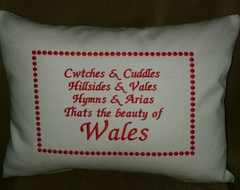 Welsh Wales cushion with embroidered verse
