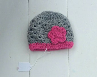 Winter crochet hat, photography prop, Baby girl hat, toddler hat, baby hat, hat with flower, grey hat, hot pink hat