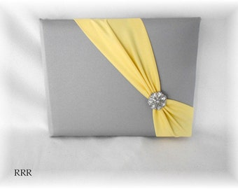 Pewter and Yellow Diagonal Wedding Guest Book, Gray Guest Book, Silver Guest Book, Yellow Guest Book, Gray Wedding Guest Book