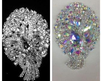 Large Rhinestone Brooch / Bridal Brooch / Crystal Brooch Component /