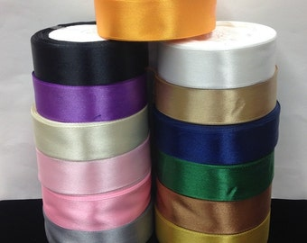 1'' Wide Single Side Satin Ribbon 13 Colors.15 yards/roll.Selling Per Roll