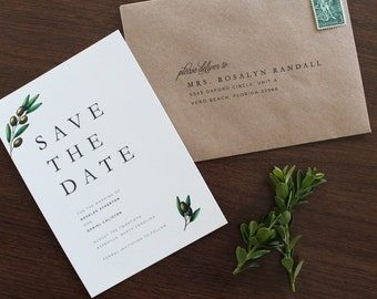 Olive Save the Date, Olive Branch Save the Date, Olive Branch Wedding Save the Date, Simple Save the Date, Winter Wedding Save the date