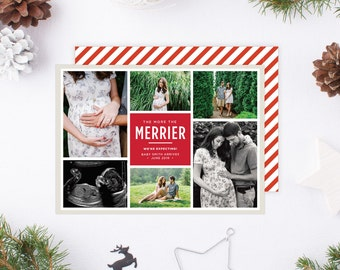 The More the Merrier Christmas Card | Pregnancy Announcement, We're Expecting, 6 photo, Multi-Photo, Photo Holiday Card, Christmas Card