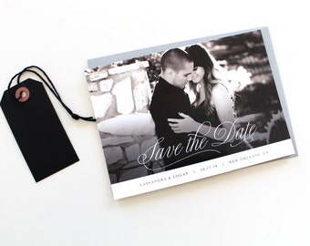 Photo Save the Date | Save-the-date, picture save the date card, classic script save the date, photo savethedate, black and white wedding