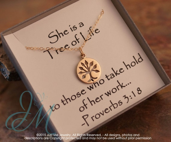 Grandma Necklace - Gold Filled Necklace with tree of life charm - She is a tree of life Proverbs 3:18