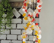 Seashell Wind Chimes Full Color, Natural Seashell, Home and Garden Decor