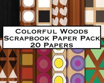 Wood Scrapbook Paper, Scrapbook Paper Wood, Colorful Woods, Colorful Wood Paper, Wood Digital Paper, Digital Paper Colorful Woods