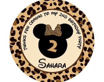 Minnie Mouse mini round sticker - Leopard Cheetah Animal Print label - Digital File