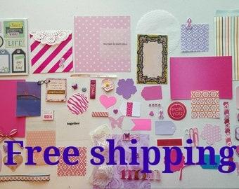 Pink ribbon breast cancer awareness survivor kit. Breast Cancer Survivor kit, smash journal, junk journal, paper ephemera, snail mail kit.
