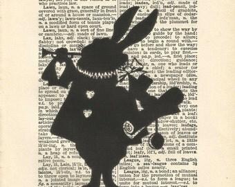 alice in wonderland white rabbit print print wall art