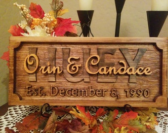Beautiful wood name plaque