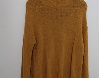 knitted mustard yellow sweater