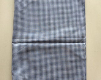 "New Cotton Fabric Remnant 43"" wide x 1-1/8 yards long Blue and White Check Gingham"