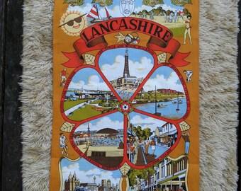 Lancashire Souviner Tea Towel. Kitchen Linen. Retro linen