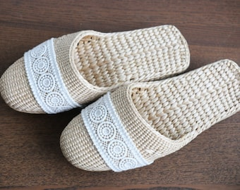 Exquisite handmade lace slippers/handwoven straw shoes/Wholesales Bulk/elegant lace slippers/wedding gift/house silk shoes/GrasShanghai
