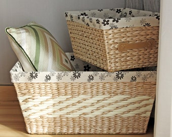 Braided baskets/Large Storage Basket /gift for moms/straw basket/laundry baskets/Ikea/wedding gift/Country decor