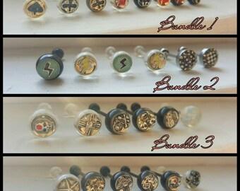 Random skull/star/dice tongue ring bundles