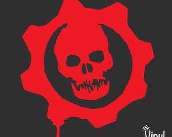 Gears of War Logo Vinyl Sticker (Red or White) inspired EPIC's Gears of War Series