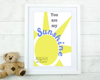 INSTANT DOWNLOAD 8x10 You Are My Sunshine nursery prints (pink AND blue)