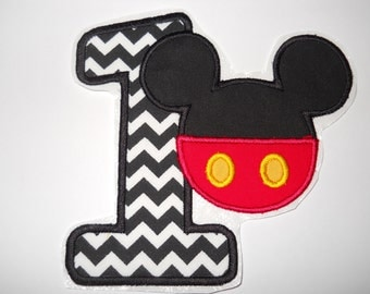Made to order ~ Mr Mouse/with pants & Number ( Choose a number) iron on or sew on applique patch