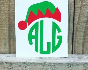Elf Hat Christmas Monogram Decal