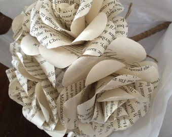 Book page flower bouquet wrapped with natural jute twine vintage inspired rustic romantic wedding keepsake toss engagement photo accessory