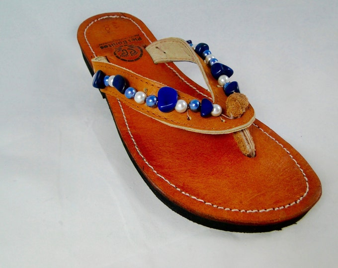 Beaded Leather Womens Sandals Flip Flops