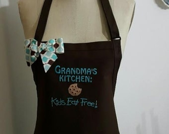 Grandma's Kitchen Apron -Personalized Apron- Brown and Teal embroidery thread -  Bow Apron .Grandma Apron -